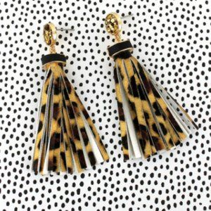 Leopard and gold tassel statement earring